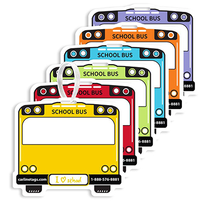 School Bus Backpack Tags with T-Lock Strap