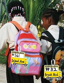 Kids with Backpack Tags
