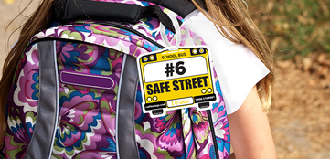 Girl with a School Bus Backpack Signs And Tags, New Jersey